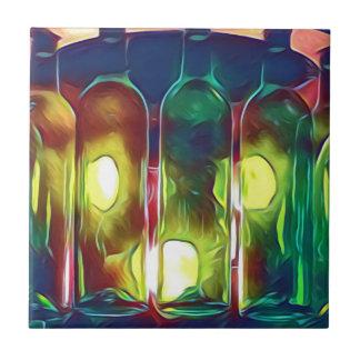 Uncommon Funky Multi-Color  Artistic Wine Bottles Tile