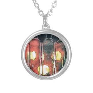 Uncommon Funky Rose Cinnamon Artistic Wine Bottles Silver Plated Necklace