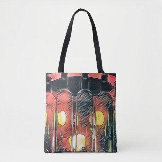 Uncommon Funky Rose Cinnamon Artistic Wine Bottles Tote Bag