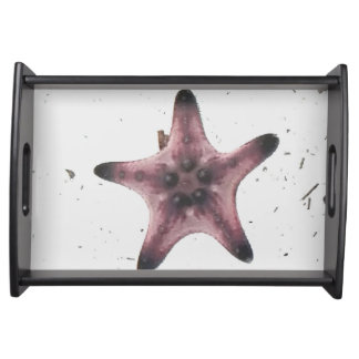 Uncommon Macro Starfish On White Sand Serving Tray