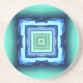 Uncommon Modern Blue Seagreen Geometric Pattern Coaster
