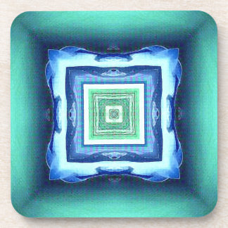 Uncommon Modern Blue Seagreen Geometric Pattern Coaster