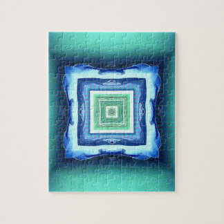 Uncommon Modern Blue Seagreen Geometric Pattern Jigsaw Puzzle