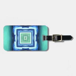 Uncommon Modern Blue Seagreen Geometric Pattern Luggage Tag