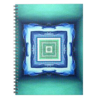 Uncommon Modern Blue Seagreen Geometric Pattern Notebook