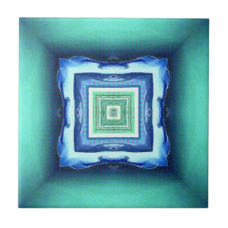 Uncommon Modern Blue Seagreen Geometric Pattern Tile