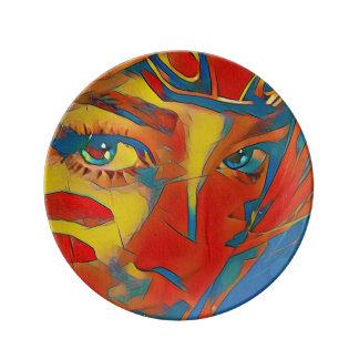 Uncommon Vibrant Artistic Facial Eyes Porcelain Plates