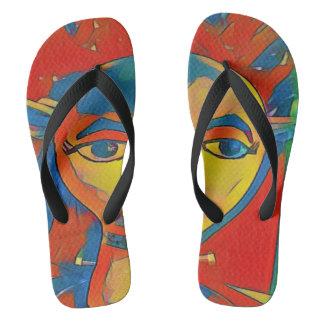 Uncommon Weird Split Face With Eyes Rt & Lft Flip Flops