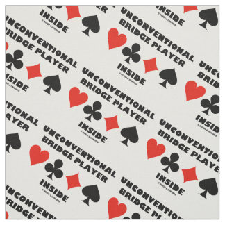 Unconventional Bridge Player Inside Card Suits Fabric