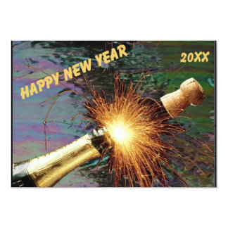 Uncorked Bottle Fireworks Happy New Year in Staine Card
