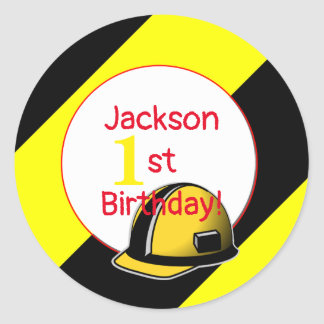 Under construction birthday party classic round sticker