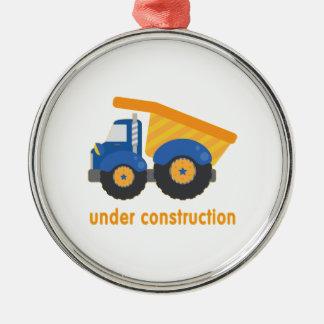 Under Construction Blue Truck Metal Ornament