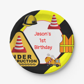 Under construction Concrete mixer Birthday party Paper Plate
