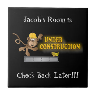 Under Construction Funny Monkey Ceramic Tiles