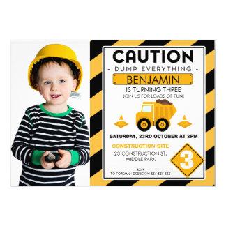 Under Construction Photo Birthday Invitation