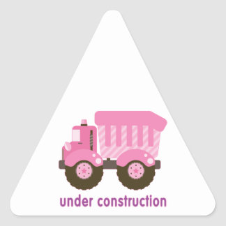 Under Construction Pink Truck Triangle Sticker