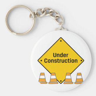 Under Construction with Cones Keychain