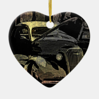 Under Her Hood - Grunge Car Art Ceramic Heart Ornament