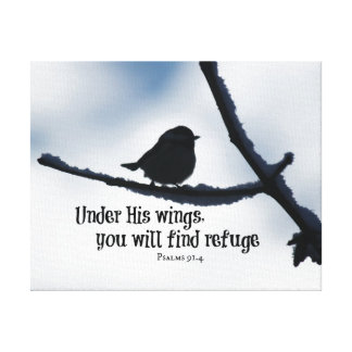 Under His wings Bible Verse Canvas Print