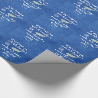 Under His Wings you will find Refuge Bible Verse Wrapping Paper