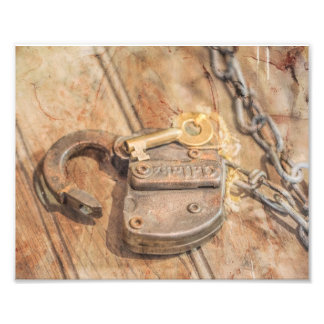 Under Lock and Key Distressed Photography Print Photograph