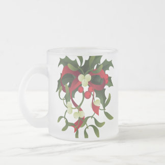 under mistletoe and holly berry frosted glass coffee mug