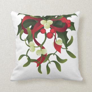 Under mistletoe throw pillow