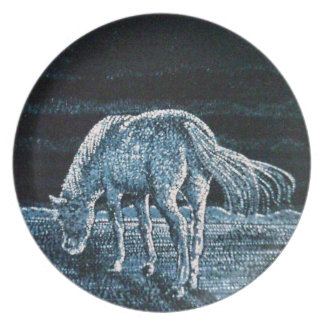 Under Moon Horse Melamine Plate