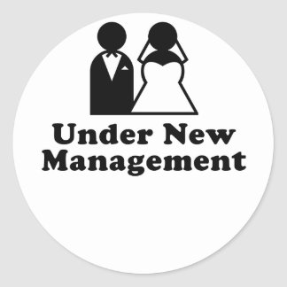 Under New Management Round Sticker