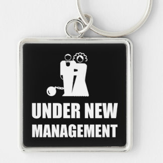 Under New Management Wedding Ball Chain Silver-Colored Square Keychain