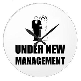 Under New Management Wedding Large Clock