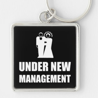Under New Management Wedding Silver-Colored Square Keychain