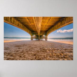 Under Pier, Sand, Beach, Ocean, Footprints Poster