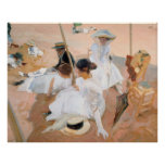 Under The Awning, On The Beach at Zarauz - Sorolla Poster