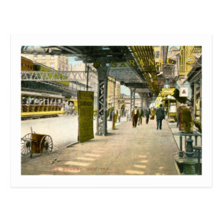 Under the Bowery El, New York City Vintage Postcard