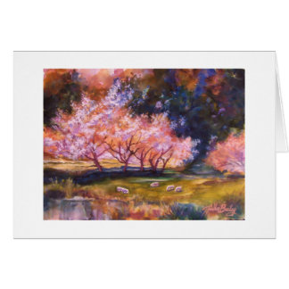 """""""UNder the Cherry Blossoms""""-  Watercolor CARD"""
