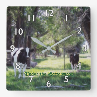 Under the Cottonwood Square Wall Clock