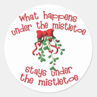 Under the Mistletoe Classic Round Sticker