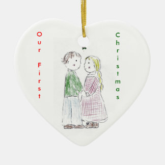 Under_the_Mistletoe, OurFirst, Christmas Ceramic Ornament