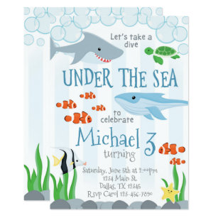Under The Sea Animal Birthday Party Invitation