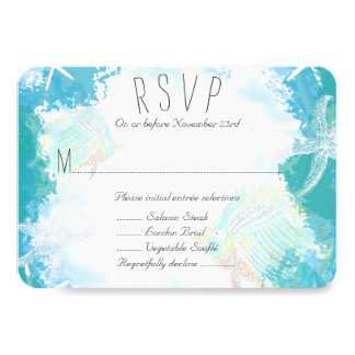 Under the Sea Aquamarine Menu Entrée RSVP Card