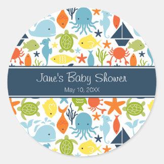 Under the Sea Baby Shower Classic Round Sticker