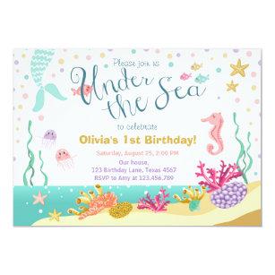 Under the sea invitations announcements zazzle ca under the sea birthday invitation mermaid purple stopboris Image collections