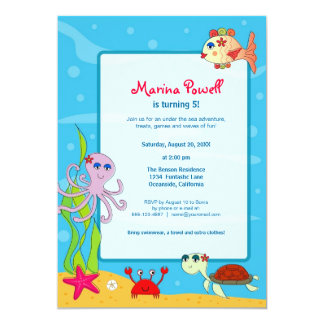 Under the Sea Birthday Party Invitations