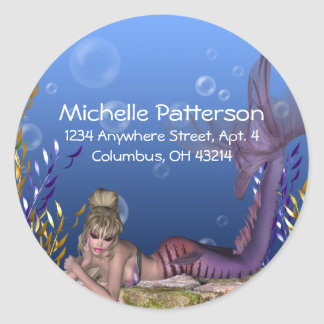 Under the Sea Blonde Mermaid Return Address Labels