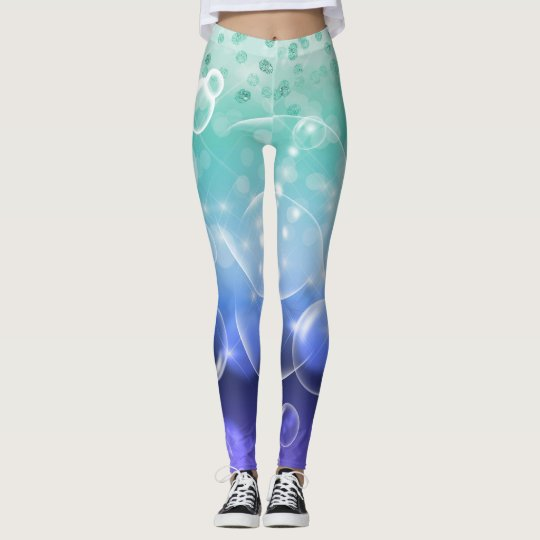 Under the Sea Bubbles Green & Purple Ocean Leggings