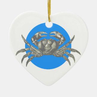 Under the Sea: Crab Motif Ceramic Heart Ornament