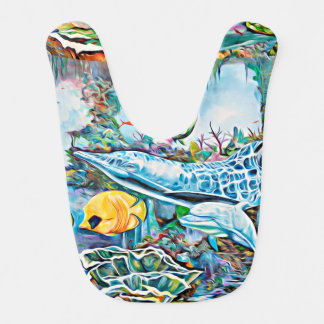 Under the Sea Creatures Ocean View Zippo Baby Bib
