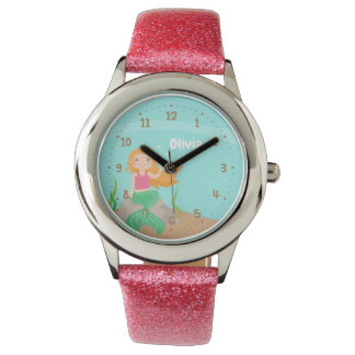 Under the Sea Cute Mermaid On Rock Girls Watch