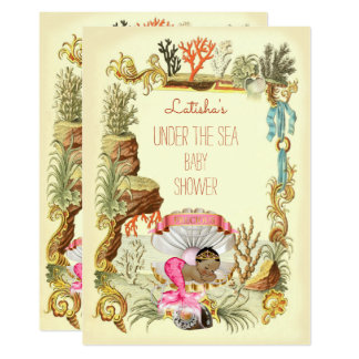 Under The Sea Ethnic Mermaid Princess Baby Shower Card